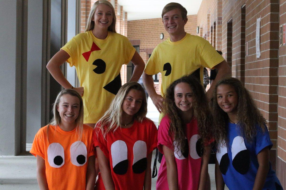 "Game over! This group of sophomores stole the show by dressing up as Mr and Mrs Pacman and the ghost on Tuesday's, ""Heroes vs. Villains,"" theme."
