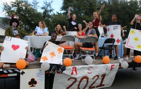Students come together to participate in the annual homecoming parade.
