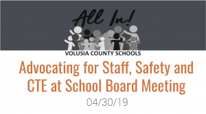Advocating for staff, safety, CTE at School Board meeting